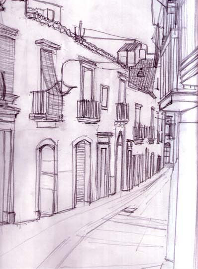 Sketch of Caltagirone street