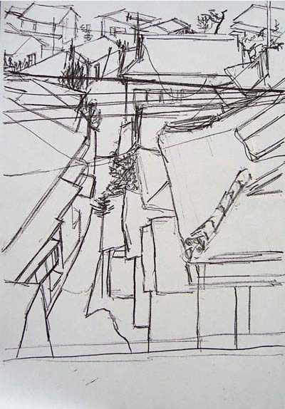 Sketch of rooftops in Ushibuka, Japan