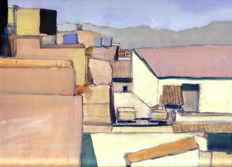 Painting of rooftops in Caltagirone