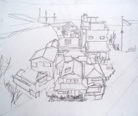 Sketch of houses in Ushibuka