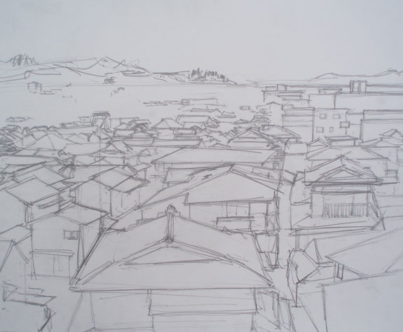 Sketch of houses in Hondo